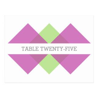 Fuchsia Green Geometric Triad Table Postcard