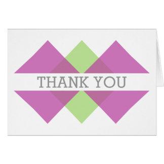 Fuchsia Green Geometric Triad Thank You Card