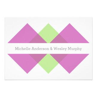 Fuchsia Green Geometric Triad Wedding Invite