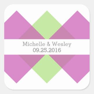 Fuchsia Green Geometric Triad Wedding Stickers