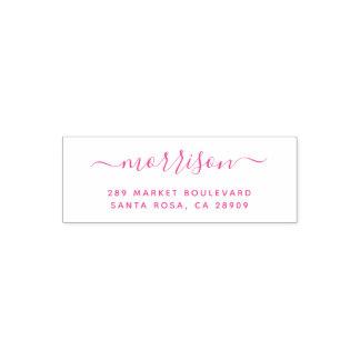 Fuchsia Hand-written Family Name & Return Address Self-inking Stamp
