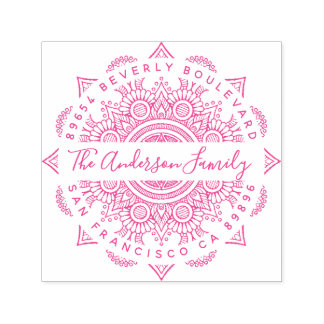 Fuchsia Happiness Mandala Zentangle Return Address Self-inking Stamp