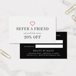 Fuchsia Heart | Referral Business Card