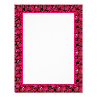 Fuchsia Hibiscus Border Stationery to Customize