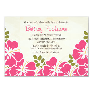 Fuchsia Hibiscus Hawaiian Birthday Party Card