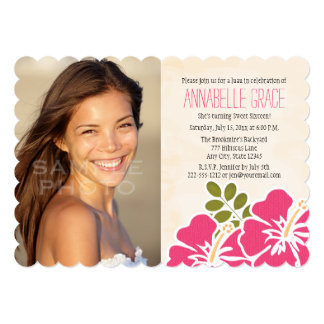 "Fuchsia Hibiscus Hawaiian Luau Sweet 16 Photo 5"" X 7"" Invitation Card"