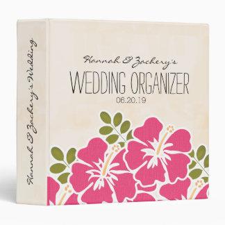 Fuchsia Hibiscus Hawaiian Wedding Organizer Vinyl Binder