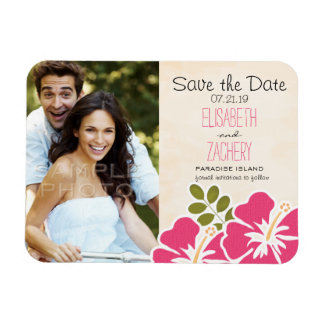 Fuchsia Hibiscus Tropical Save the Date Magnets