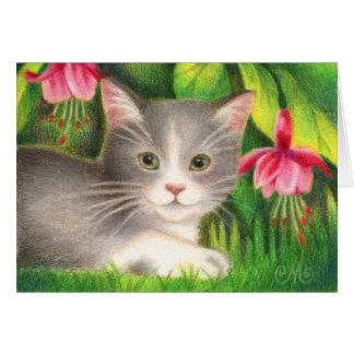 Fuchsia Kitten - Cute Cat Greeting Card