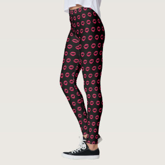 Fuchsia Lip Print Leggings