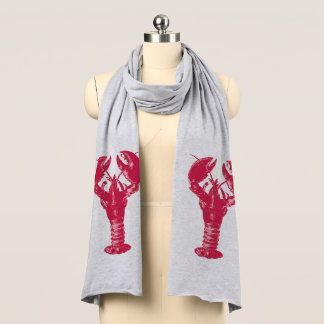 Fuchsia Lobster on a White Background Scarf