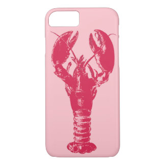 Fuchsia Lobster on Light Pink iPhone 8/7 Case