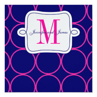 Fuchsia Navy Blue Modern Wedding Invitation #2