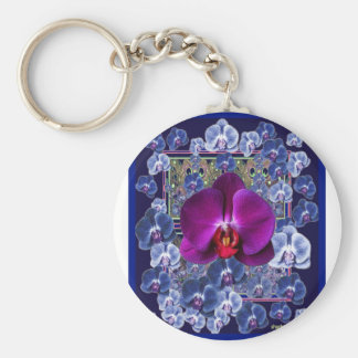 Fuchsia Orchid Bler-Grey Celestial Orchids Basic Round Button Keychain