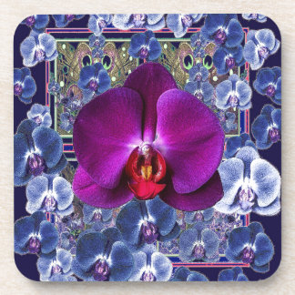 Fuchsia Orchid Bler-Grey Celestial Orchids Beverage Coasters