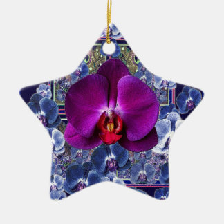 Fuchsia Orchid Bler-Grey Celestial Orchids Ceramic Star Ornament