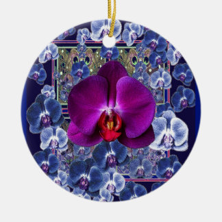 Fuchsia Orchid Bler-Grey Celestial Orchids Round Ceramic Ornament