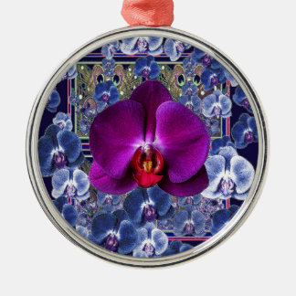 Fuchsia Orchid Bler-Grey Celestial Orchids Silver-Colored Round Ornament