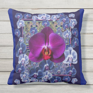 Fuchsia Orchid Blue-Grey Celestial Orchids Throw Pillow