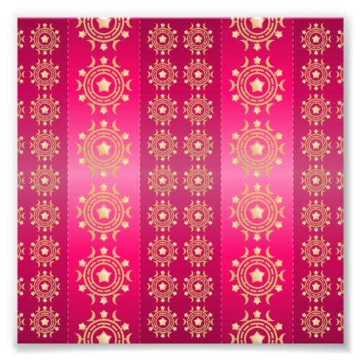 Fuchsia Oriental Mandala Pattern Art Photo
