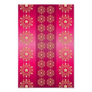 Fuchsia Oriental Mandala Pattern Poster