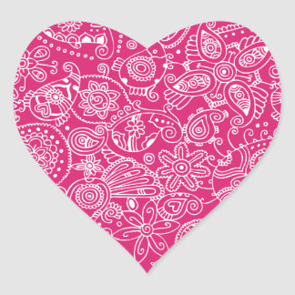 Fuchsia Paisley Heart Sticker