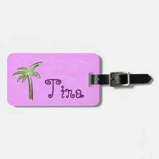 Fuchsia Palm Tree Luggage Tag