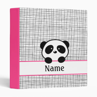 Fuchsia Personalized Panda School Binder