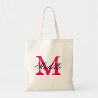 Fuchsia pink and black wedding tote bag with name