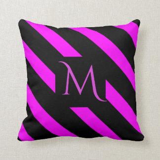 Fuchsia Pink and Black Wide Striped Monogram Throw Pillow