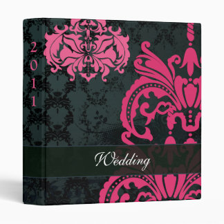 Fuchsia Pink and Blue Damask Wedding Binders