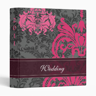 Fuchsia Pink and Gray Damask Wedding 3 Ring Binders