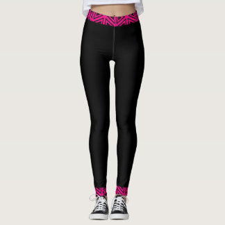 Fuchsia Pink & Black 4Tina Leggings