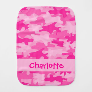 Fuchsia Pink Camo Camouflage Name Personalized Burp Cloth