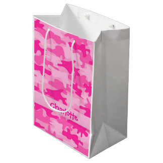 Fuchsia Pink Camouflage Name Personalized Medium Gift Bag
