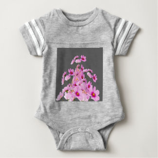 FUCHSIA PINK COSMOS GREY FLORAL DESIGN BABY BODYSUIT