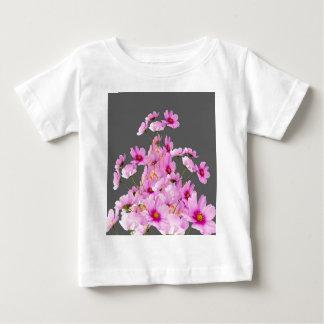 FUCHSIA PINK COSMOS GREY FLORAL DESIGN BABY T-Shirt