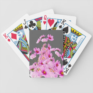 FUCHSIA PINK COSMOS GREY FLORAL DESIGN BICYCLE PLAYING CARDS