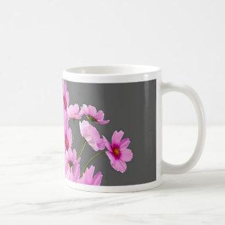 FUCHSIA PINK COSMOS GREY FLORAL DESIGN COFFEE MUG