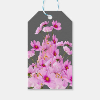 FUCHSIA PINK COSMOS GREY FLORAL DESIGN GIFT TAGS