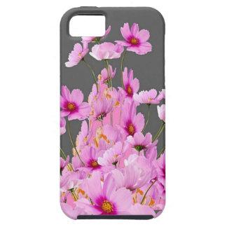 FUCHSIA PINK COSMOS GREY FLORAL DESIGN iPhone 5 CASE