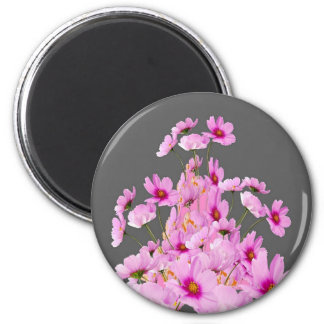 FUCHSIA PINK COSMOS GREY FLORAL DESIGN MAGNET