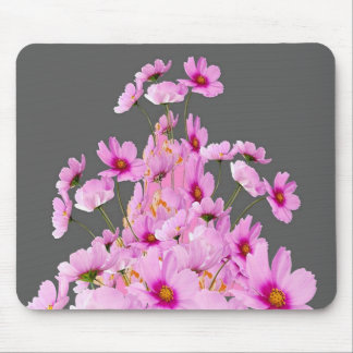 FUCHSIA PINK COSMOS GREY FLORAL DESIGN MOUSE PAD