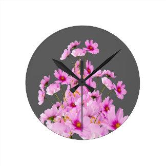 FUCHSIA PINK COSMOS GREY FLORAL DESIGN ROUND CLOCK