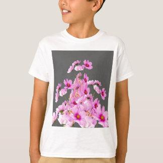 FUCHSIA PINK COSMOS GREY FLORAL DESIGN T-Shirt