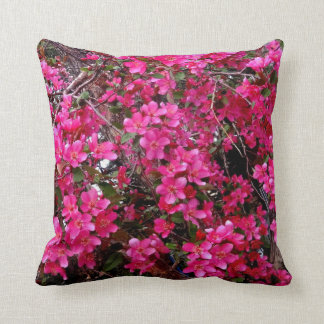 FUCHSIA PINK CRAB APPLE BLOSSOMS THROW PILLOW