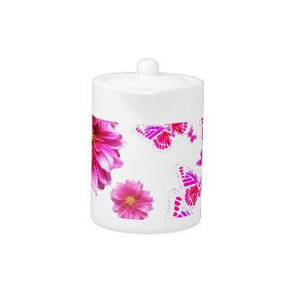 Fuchsia Pink Dahlia's & Butterflies white Pattern