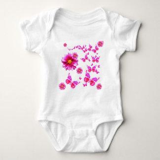 Fuchsia Pink Dahlia's & Butterflies white Pattern Baby Bodysuit