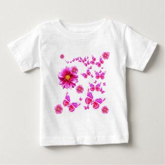 Fuchsia Pink Dahlia's & Butterflies white Pattern Baby T-Shirt