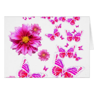 Fuchsia Pink Dahlia's & Butterflies white Pattern Card